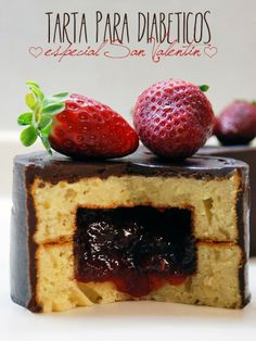 Tarta Fresa y Chocolate para Diabeticos especial San Valentín / Strawberry and Chocolate Cake for Diabetics special Valentine