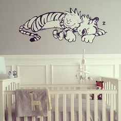 calvin & hobbes nursery - not such a big mural might be easier to cover up after the fact