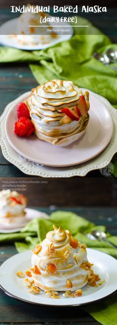Dairy Free Individual Baked Alaska - with a soft, moist chocolate cake base, So Delicious Dairy Free® Frozen Treats in the middle, and then covered with a silky smooth meringue topping with a warm, caramelized coating! A sophisticated-looking dessert but with minimal hassle, that's perfect for summer and entertaining! Video Tutorial for Meringue piping included. #DairyFree4All  [ad] #TheFlavorBender @walmart