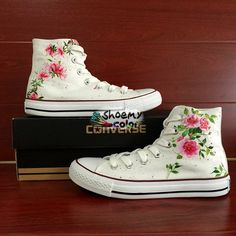 Womens Converse Floral Custom Flower Hand Painted Canvas Shoes