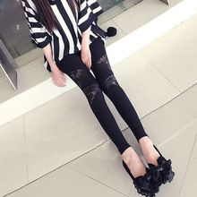 Leather Girl workout Leggings Hollow Hot Charming Warm Lace legins Sexy PU Leggins Skinny Stretch Black Splicing Pants