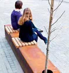 STREETLIFE Solid Seat Strip - CorTen steel plant boxes with individual seats #StreetFurniture #GreenSeats #CorTen