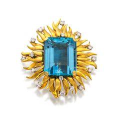 Platinum, 18ct gold, aquamarine and diamond brooch, Schlumberger, Tiffany & Co., circa 1992
