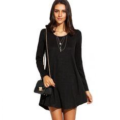 Black Long Sleeve Mini T-shirt Dress 2017 Basic Women Solid Round Neck Loose Short Swing Dress