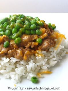 Easy and filling dinner idea: ground turkey cooked in Cream of X soup, served with peas and shredded cheese atop a bed of rice. I'd like to throw in some diced onions and tomatoes, as well :-9
