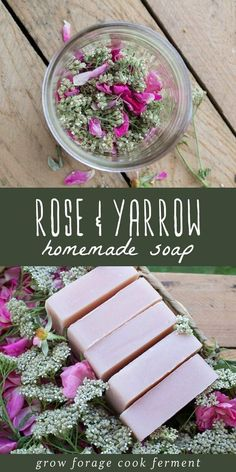 Wild Rose and Yarrow Soap Making your own homemade soap can be intimidating, but this tutorial will take you through the process step by step! Get the recipe for this gorgeous natural soap made with foraged wild roses and yarrow! Soap Making Recipes, Homemade Soap Recipes, Homemade Crafts, Homemade Beauty, Diy Beauty, Diy Rose, Savon Soap, Soap Making Supplies, Soap Molds
