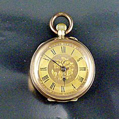 Swiss Petite Gold Pendant Watch, Late 1800s. Pendant Watch, Gold Pendant, Vintage Pocket Watch, Roman Numerals, Floral Motif, Initials, Jewels, Watches, Chain