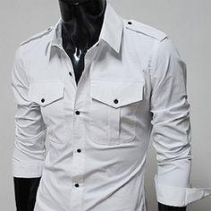 Mens Casual Slim Fit Strap Big Pocket Shirts