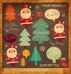 Vector Christmas card with funny Santa Claus