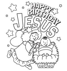 Happy Birthday Jesus Coloring Page - Free Christmas Recipes, Coloring Pages for Kids & Santa Letters - Free-N-Fun Christmas by Sherry Clapp Jesus Coloring Pages, Colouring Pages, Coloring Pages For Kids, Mandala Coloring, Free Coloring, Christmas Coloring Sheets For Kids, Adult Coloring, Coloring Books, Printable Christmas Coloring Pages