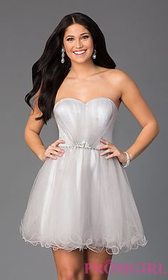 Short Strapless Sweetheart Homecoming Dress at PromGirl.com