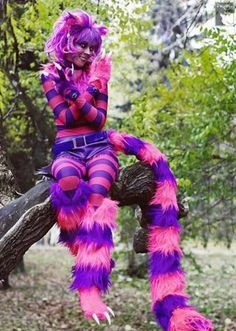 Pink Purple stripes Cheshire Cat costume Carnival