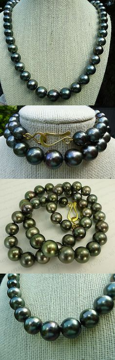 Pearl 164333: Superb Black Tahitian Pearl Necklace 18K Solid Gold Clasp Power Strand -> BUY IT NOW ONLY: $4950 on eBay!