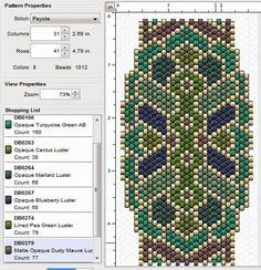 free beading peyote stitch pattern - click through to several great peyote designs! Peyote Stitch Patterns, Beading Patterns Free, Seed Bead Patterns, Beaded Jewelry Patterns, Beading Ideas, Bead Loom Bracelets, Peyote Beading, Beaded Banners, Tutorials