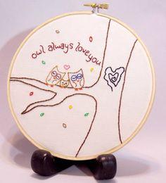 Hand embroidered wall art hoop Owl Always by sleepingfoxstitchery