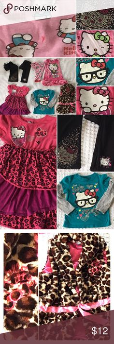 KIDS: Lot of 7 Hello Kitty girls clothes Preloved lot of 7 Hello Kitty items. In good condition, but there may be small spots & wear.   - Black pants sequins, size 3T - Black leggings, size 5T - Pink lightweight pj bottom, a bit worn but no holes, size 6 - Pink nightgown, size 4T (there are faint stains on Kitty's face) - Pink purple, silver glitter dress, hem curls up a bit, size 5 - Teal Grey Kitty shirt, size 4T - Soft animal print vest, tie in the front.  Hello Kitty signature & bow…