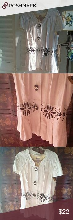 Anthropologie Elevenses Jacket Very pretty embroidered detailed jacket by Elevenses. Great condition. Smoke and pet free home. Jackets & Coats