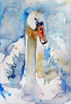 Swan (2016) Watercolor by Kovács Anna Brigitta | Artfinder
