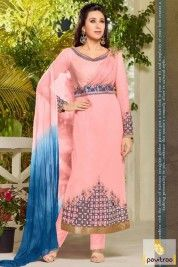 Peach Color Designer Karishma Kapoor Salwar Suits for Party Wear #salwarsuit, #bollywooddress more: http://www.pavitraa.in/wholesale-catalog/karishma-kapoor-designer-salwar-kameez-online/