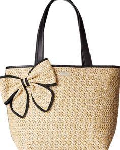kate spade new york Belle Place Straw Summer Shoulder Bag, Natural/Black