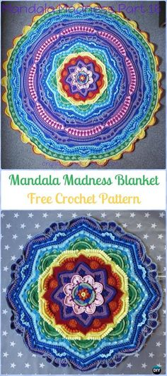 Crochet Mandala Madness Free Pattern-Crochet Circle Blanket Free Patterns