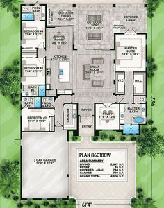 Striking Florida House Plan - 86018BW | Florida, 1st Floor Master Suite, Butler Walk-in Pantry, CAD Available, Den-Office-Library-Study, PDF, Split Bedrooms | Architectural Designs