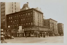 9th Ave and 57st. Street. Where the Finast grocery store once stood on the corner. To the left is the Parc Vendome apartment building. There is a park on this corner now. 1941