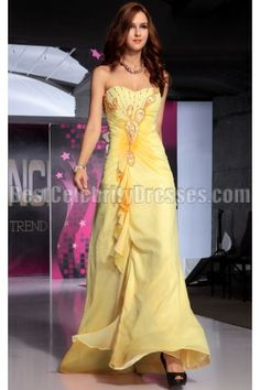 Yellow floor length dress for formal or prom.