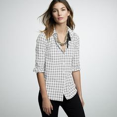 J CREW Cotton check shirt 23050 $69.50 Wear it year-round—our classic check print (borrowed from our men's collection) in crisp cotton and tailored just for you. For a looser boyfriend fit, we recommend ordering one size up. Long sleeves.