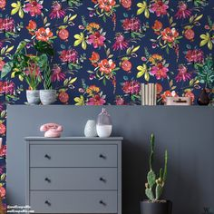 Our best selling wallpaper is finally back. And this wallpaper trend is hotter than ever! . This brilliantly bold floral wallpaper features large blooms of flowers and leaves in bright colours that pop off the wall. . ✨Use IGCODE20 to avail 20% discount✨ . #navywallpaper #blossomwallpaper #floraldesign #boldwallpaper #metallicwalls #texturedwalls #livingroomdesigns #bedroominterior #kitchenimprovement #powderroomstyle #bathroomwallpaper #hallwaydecor #bestsellingwallpapers #trendywallpapers Blush Pink Wallpaper, Bold Wallpaper, Tropical Wallpaper, Unique Wallpaper, Contemporary Wallpaper, Fabric Wallpaper, Pattern Wallpaper, Beautiful Wallpaper, Nature Wallpaper
