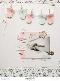 Love - Layout mit Seven Paper Clara von Ulrike Dold Scrapbook Bebe, Baby Girl Scrapbook, Baby Scrapbook Pages, Scrapbook Sketches, Scrapbook Page Layouts, Travel Scrapbook, Scrapbook Paper Crafts, Scrapbook Cards, Art And Hobby