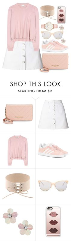 """""""Sweet Rose Outfit"""" by elusiin ❤ liked on Polyvore featuring Karl Lagerfeld, Miss Selfridge, Acne Studios, adidas Originals, Smith Optics, Casetify and CLUSE"""