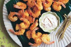 Coconut prawns with chilli lime mayonnaise main image Prawn Recipes, Fish Recipes, Seafood Recipes, Yummy Recipes, Christmas Finger Foods, Christmas Lunch, Deep Fryer Recipes, Coconut Prawns, Casual Dinner Parties