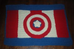 Crocheted Rug Captain America Rug Crochet by TheCreativeMandM, $55.00