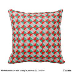 Abstract square and triangle pattern throw pillow