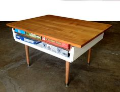 pine end table or coffee table with notched corners and steel legs