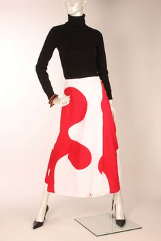 Vtg 60s Marimekko Red White Abstract Print Long Wrapper Skirt Jokeri S #Marimekko
