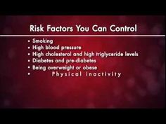 Heart Attack Risk Factors address the two types of risk factors associated with heart attacks, factors that a person can control and factors they cannot. Knowing the risk factors is so important because having just one risk factor doubles a person's chance of developing heart disease. This video is presented by the NIH's National Heart, Lung, and Blood Institute and can be viewed at http://www.nhlbi.nih.gov/health/health-topics/videos/heart-disease-risk-factors.html #HeartTruth #heart…