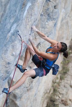 "Climbing /Juliane Wurm, Germany, climbing ""Privilege"" (7c+) (2008, aged 17)"