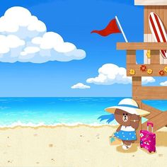 Choco on the beach Line Cony, Cony Brown, Beach Illustration, Cartoon Painting, Line Friends, Cartoon Pics, Image Photography, Holiday Travel, Cute Wallpapers