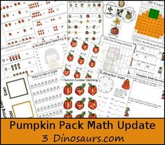 Free Pumpkin Pack Update: Math Activities - 49 pages of addition, subtraction, multiplication, counting, even & odd and more - 3Dinosaurs.com