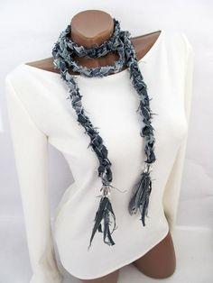 Scarf Necklace, Scarf Jewelry, Fabric Jewelry, Leather Necklace, Denim Bracelet, Denim Earrings, Denim Crafts, Yarn Crafts, Denim Ideas