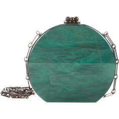 Pre-owned Edie Parker Oscar Half-Moon Acrylic Clutch ($1,195) ❤ liked on Polyvore featuring bags, handbags, clutches, green, acrylic purse, acrylic handbag, locking purse, green purse and preowned handbags