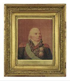 Gaspard Grégoire (Aix-en-Provence, 20 octobre 1751 - Paris, 12 mai 1846), Portrait de Louis XVIII d'après Pierre-François Bertonnier, Paris,  1824. MT 25687. Achat Crozet, 1895. © Musée des Tissus, Pierre Verrier
