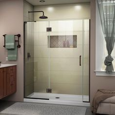 DreamLine Unidoor-X H x to W Frameless Hinged Satin Black Shower Door (Clear Glass) at Lowe's. The DreamLine Unidoor-X is a frameless shower door, tub door or enclosure that features a luxurious modern design, complementing the architectural Frameless Shower Enclosures, Frameless Shower Doors, Dreamline Shower Doors, Bathtub Doors, Wooden Bathtub, Wood Bath, Black Shower, Wall Installation, Custom Glass