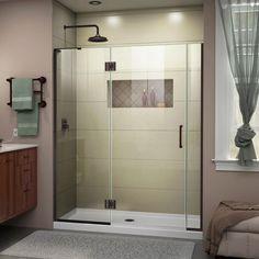 DreamLine Unidoor-X H x to W Frameless Hinged Satin Black Shower Door (Clear Glass) at Lowe's. The DreamLine Unidoor-X is a frameless shower door, tub door or enclosure that features a luxurious modern design, complementing the architectural Shower Enclosure, Dreamline, Black Shower, Chrome Shower Door, Door Installation, Bathroom Style, Modern Tub, Frameless Shower Doors, Frameless Hinged Shower Door