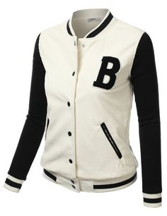 "Womens ""B"" Patch Pu Varsity Baseball Jacket #doublju"