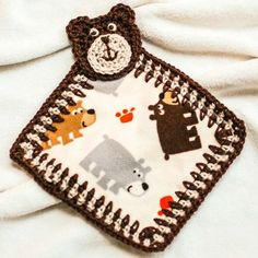 Bear Lovey and Applique Pattern a great way to turn your little one's favorite but outgrown jammies (or any piece of scrap fleece for that matter) into a cuddly lovey. #crochet