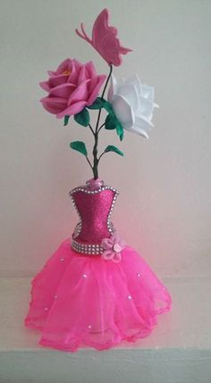 Handmade Ballerina Centerpiece (Made to order) Quinceanera Centerpieces, Bridal Shower Centerpieces, Glass Centerpieces, Wedding Vases, Rustic Wedding Centerpieces, Ballerina Centerpiece, Birthday Table Decorations, Wedding Wine Glasses, Deco Table