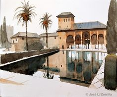 La Alhambra Urban Painting, Painting Tips, Granada Spain, Water Art, Famous Places, Fantastic Art, Watercolours, Medium Art, Marrakech